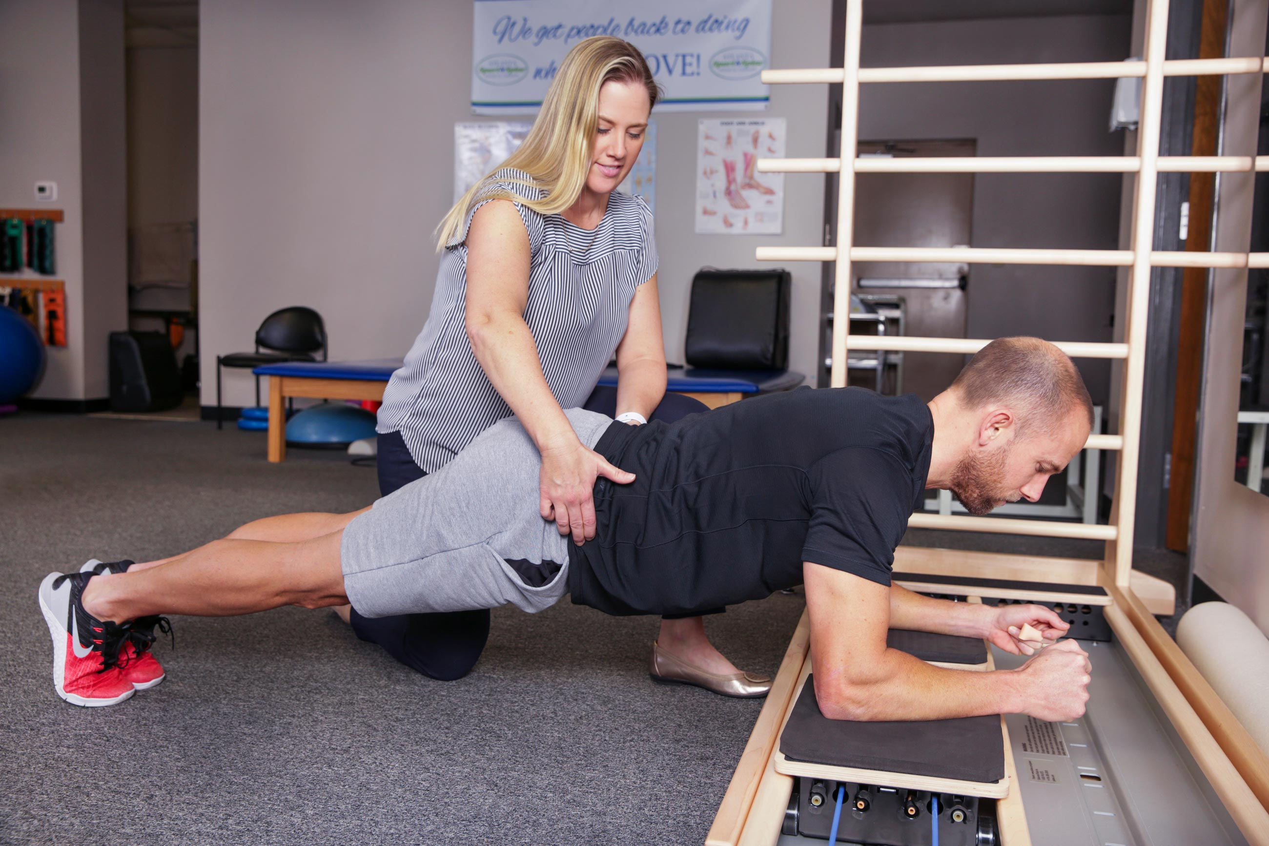 We assist with all patients, athletes, injured, fitness-focused to strengthen using pilates